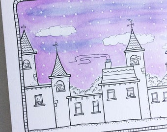 Snow Town #1 - Original watercolour artwork