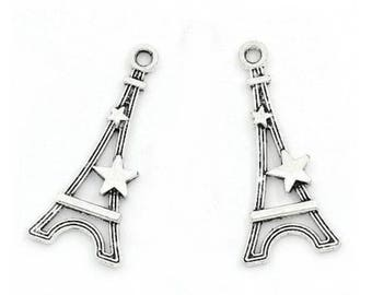 Set of 15 eiffel tower pendant with star charms