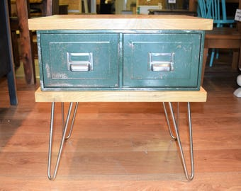 Industrial - Wooden Bedside Table on Chrome Hairpin Legs