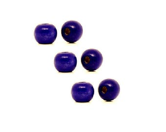 set of 10 purple 10 mm x 9 mm wooden beads