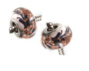 Set of 4 white murano glass, pattern black and gold, 14 mm x 9.5 mm beads
