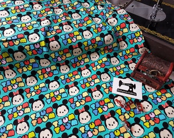 Disney - Tsum Tsum - Cotton Lycra - Stretch Knit - 4 Way Stretch - Cotton Spandex - Licensed - Mickey Mouse - Minnie Mouse - jersey knit