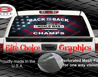 American Flag World War Champs Patriotic Rear Window Graphic Tint Decal Sticker Truck SUV Van Car