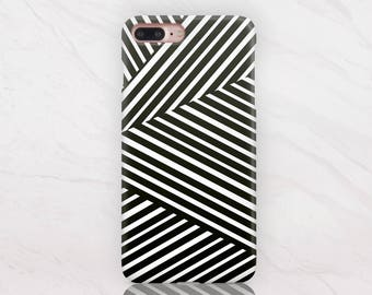 Stripes iPhone X Case iPhone 8 Plus Case iPhone 7 Case iPhone 7 Plus Case Hard Case Black And White iPhone 8 Case Samsung S8 Case RD1595