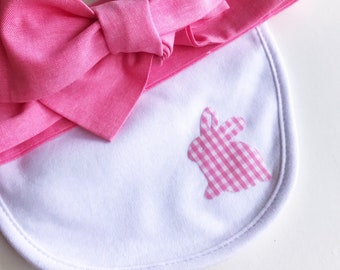 easter bib and standard headwrap set pink