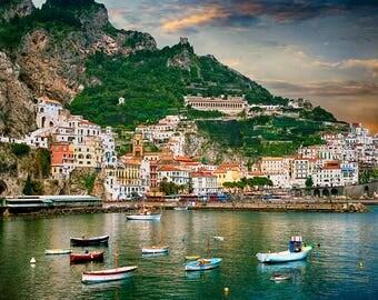 Amalfi Italy, Amalfi Harbor Boats, Amalfi Village Print, Amalfi Seascape Photo, Italy Wall Decor, Fine Art Photograph, Amalfi Drive
