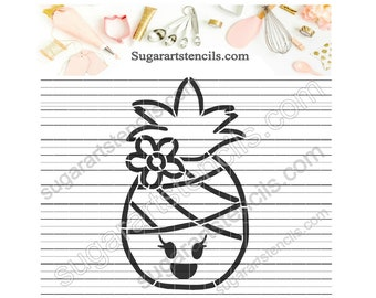 Pineapple girl PYO cookie stencil summer beach ST00516