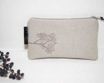 Grey embroidered coin purse / embroidered fabric wallet / purse embroidered / embroidered fabric clutch / embroidery flower / plant embroidery
