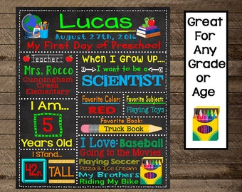 First Day of School sign, first day of school printable, 1st day of school 1st day of school chalkboard, first day, prek, first day sign