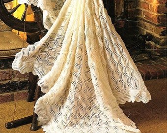 Baby Shawl, Heirloom, Christening Blanket, Knitting Pattern. PDF Instant Download.