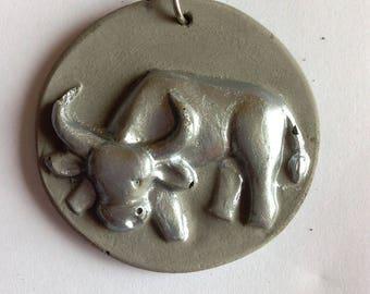 Taurus zodiac sign Keyring with silver powder