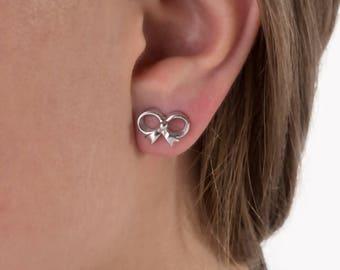 Bow Earrings,925 Silver,ribbon earring.