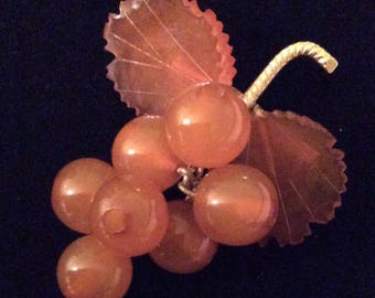 "Natural Baltic Amber Grape Pin- 2.25""- Made in Russia"