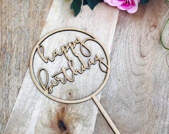 Happy Birthday Cake Topper Birthday Cake Topper Cake Decoration Cake Decorating Happy Birthday Cursive Topper CIRCMD Sugar Boo SugarBoo