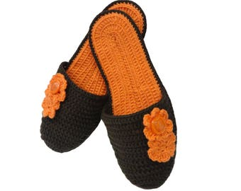 Crochet slippers with  button, gift, flip flops