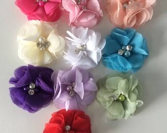 SET of 10 flower APPLIQUES with tulle Pearl and rhinestone color mix