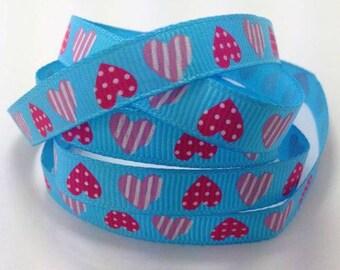 Ribbon GROSGRAIN sold by the yard, 10mm heart pattern