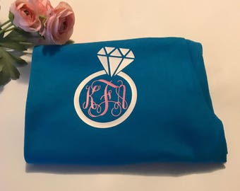 Monogrammed engagement ring left chest design shirt , Wedding gift for woman , personalized engagement gift , diamond ring monogram t shirt