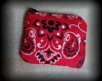 Change purse!/coin purse/ red bandana coin purse/change purse