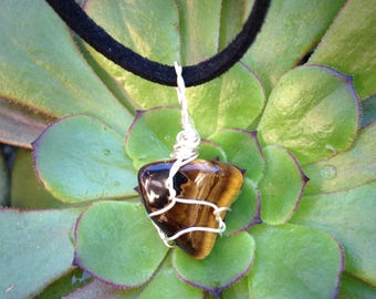 Tigers Eye Crystal pendant necklace