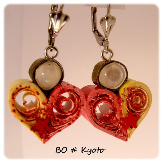 Unique Designer [Kyoto] - red - yellow earrings
