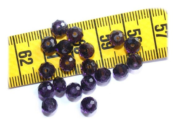 Abacus faceted 6x4mm Bohemian Dark Amethyst x 25 Crystal beads