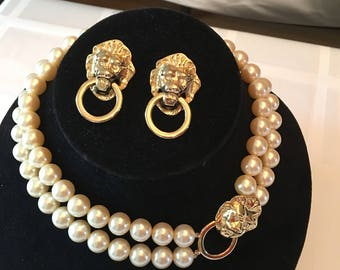 KJL for Avon Lion Door Knocker Clasp Faux Pearl Necklace and Gold tone Pierced Earring Set - Formal Designer Jewelry set - Like new