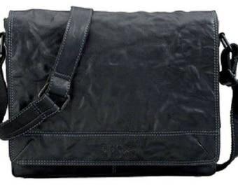 Shoulder bag, leather, black