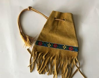 Leather fringed pouch