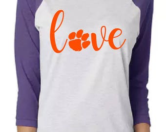 Tiger paw Love purple raglan shirt.  Great for sports fans.  Makes a great gift.