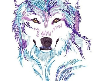 AW 002 Spirit of the Wolf Machine Embroidery Design 3,5*6,5*7, 6*8, 8*10  Embroidery Wolf