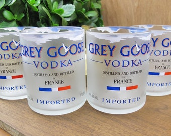 Grey Goose Vodka Drinkware Gift Set of 4 Recycled Bottle Tumblers Upcycled Rocks Glasses best dad gift idea for guys who have everything