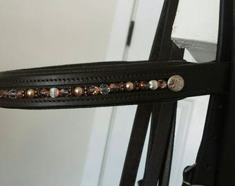 Interchangeable Copper Dream beaded browband