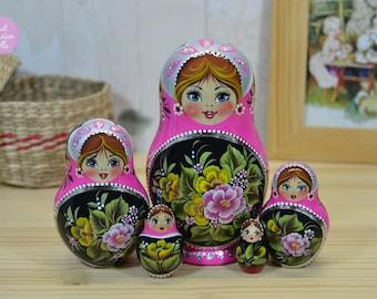 Matryoshka, Nesting dolls, Gift for sister, Wooden Babushka in pink and black design, Traditional Russian folk art, Gouache painting on wood