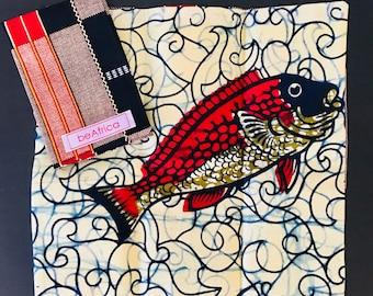 Men's Handkerchief- reversible - African -black, red, cream - kente and fish