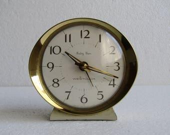 SALE 20% OFF Westclox Baby Ben Alarm Clock, Mechanical Oval Desk Clock, Mid Century Office Decor, Collectible - made in Scotland 60s