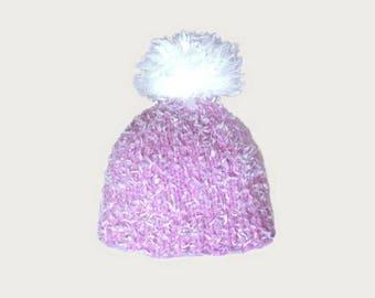 wool pink velvet costume and white Pompom baby Hat