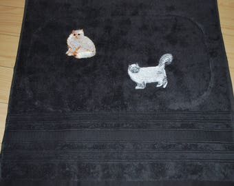 Towel embroidered with 2 cats Burmese and Persian
