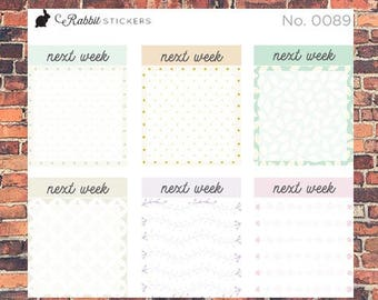 Next Week boxes -- 0089 Bullet Journal stickers, planner stickers, bujo, weekly boxes, planner boxes