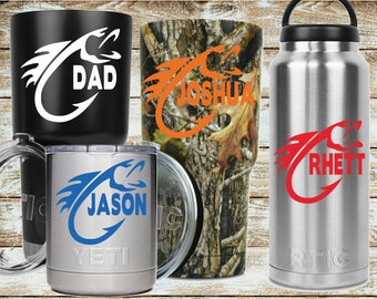 Fish Hook with Name Decal Sticker | Fishing Decal | Yeti Decal | Truck Decal | Cooler Decal