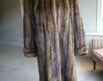 Vintage Brown Muskrat Fur Coat 1940