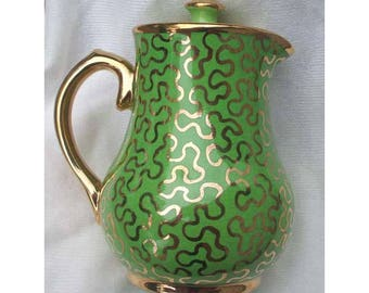 Vintage Sudlow's Burslem Coffee Pot, Made in England, Green, Gold, Hard to find