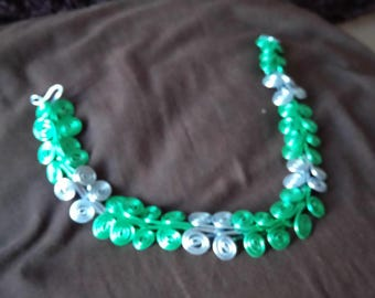 Green and blue aluminum Choker sexy woman