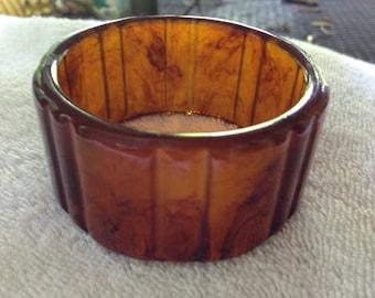 Vintage carved root beer Bakelite cuff bracelet