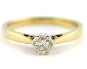 Vintage 9ct Gold 0.25ct Diamond Solitaire Engagement Ring