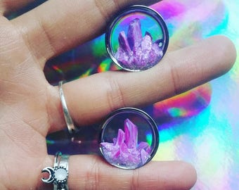 Pair of hand made crystal plugs
