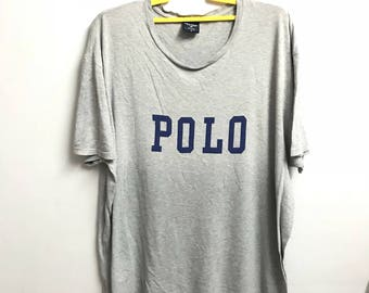 Vintage POLO SPORT by Ralph Lauren Tshirt big logo printed grey colour 4 large size