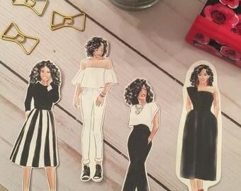 African American Fashion Girls Die Cuts I ~ Stickers ~ Dark Skin Fashion Girls Die Cuts I ~ Planner Die Cuts ~ Planner Decor