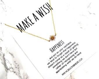 Sun minimalist chain necklace, dainty delicate wish necklace, fine sun necklace, simple necklace, minimalist jewelry, boho necklace