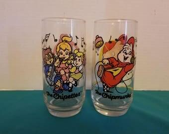 Alvin & The Chipmunks Vintage 1985 Promotional Glasses Set of 2